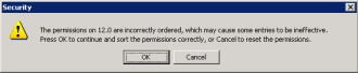 Registry permission error message