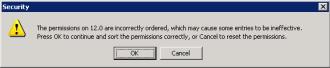 Registry permission error message